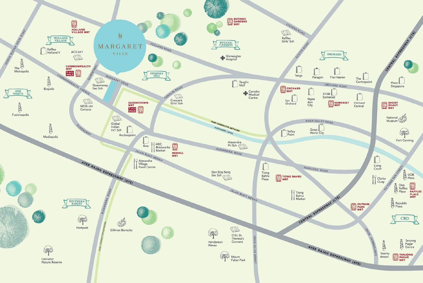 Margaret Ville Location Map - Singapore