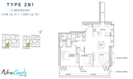 2B1: 2 Bedroom
