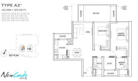 A2 - 2 BR + Study